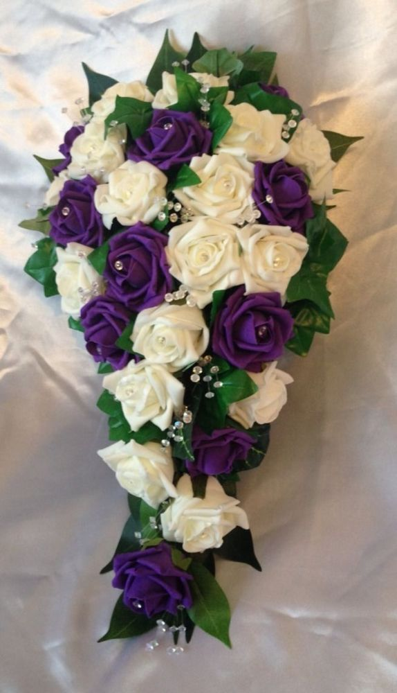 WEDDING FLOWERS IVORY PURPLE ROSE BRIDE SHOWER TEARDROP BOUQUET ...